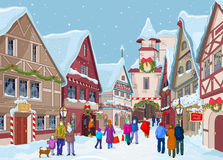 Jul som shoppar gatan vektor illustrationer