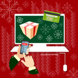 Jul som shoppar händer genom att använda online-shopping för smart telefon stock illustrationer
