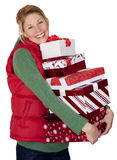 jul som shoppar kvinnan Arkivbilder