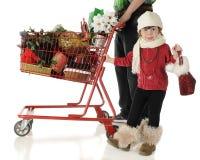 Jul som shoppar med pappa Royaltyfri Bild