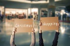 Jul som shoppar tecknet Royaltyfria Foton