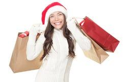 jul som shoppar vinter Arkivfoton