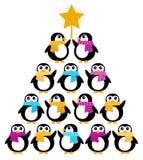 jul som skapar den gulliga pingvintreen stock illustrationer