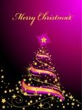 jul som skiner treen royaltyfri illustrationer