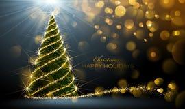 jul som skiner treen Arkivfoton