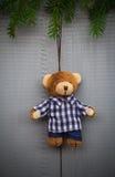 Jul som ställer in björnen för nalle för sammansättningsgåvaskog Royaltyfri Fotografi