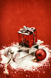 Jul som ställer in med den retro släden Fotografering för Bildbyråer