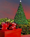 Jul som ställer in med det dekorerade trädet i utomhus- solnedgångplats Arkivfoto