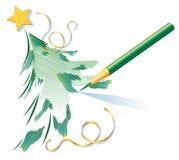 jul som tecknar blyertspennatreen Arkivfoto