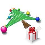 jul som tecknar treen Royaltyfria Bilder