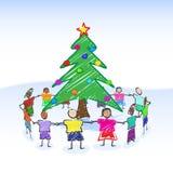 jul som tecknar treen Arkivfoto