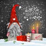 Jul ställa i skuggan med stearinljus och gåvaaskar på svart bakgrund stock illustrationer