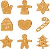 Jul ställde in av ljust rödbrun bröd, feriekaka stock illustrationer