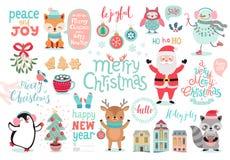 Jul ställde in, handen dragen stil - kalligrafi, djur och andra beståndsdelar stock illustrationer