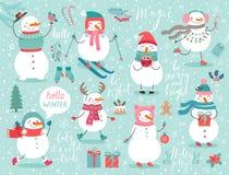 Jul ställde in med gulliga snögubbear royaltyfri illustrationer