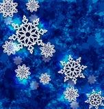 Jul ställde in snöflingor på mörker - blå grungebakgrund Royaltyfria Foton