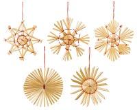 Jul Straw Snowflakes Decoration, isolerade snöflingor Royaltyfri Foto