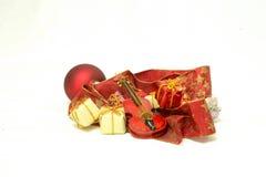 Jul tajmar och gåvor, julkort Royaltyfri Fotografi