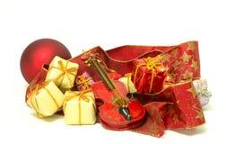 Jul tajmar och gåvor, julkort Royaltyfri Foto
