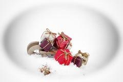 Jul tajmar och gåvor, julkort Arkivbild