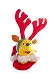 Jul Teddy Bear Wearing Reindeer Antlers Fotografering för Bildbyråer