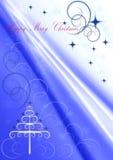 Jul Treemed krumelurer och snöflingor mot backgroundÂenmed violetta strålar Royaltyfri Bild