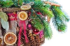 Jul-treen förgrena sig dekorerat Royaltyfri Fotografi