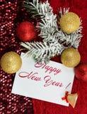 Jul undertecknar, julgranen i snön, guld- prydnader för jul Royaltyfria Bilder