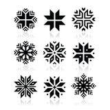 Jul uppsättning för vintersnöflingasymboler Arkivbild