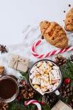 Jul varm choklad eller kakao med marshmallowen, kakor på vit bakgrund med julgarneringar Lekmanna- lägenhet arkivbild