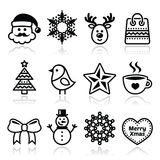 Jul vintersymboler ställde in - Santa Claus, snögubbe Arkivbilder