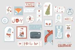 Juladventkalender, gullig hand dragen stil vektor illustrationer
