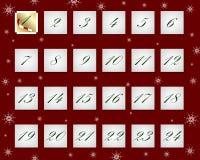 Juladventkalender i form av ark av pappersvektorn Vektor Illustrationer