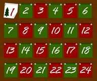 Juladventkalender i form av klistermärkear på en träbakgrundsvektor Royaltyfri Illustrationer