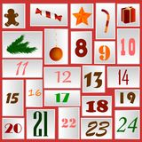 Juladventkalender i form av pappers- kort med nummer och symboler av julvektorn royaltyfri illustrationer