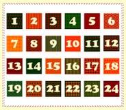 Juladventkalender i form av stycken av tyg med den sydde nummervektorn stock illustrationer