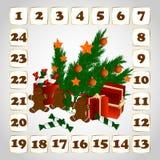 Juladventkalender med julbildvektorn Stock Illustrationer