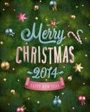 Julaffisch med textur för granträd. Royaltyfria Bilder