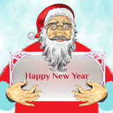 Julaffischdesign med Santa Claus Royaltyfri Bild