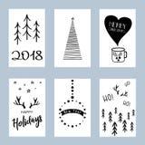 Julaffischuppsättning Uppsättning av mallar för kort för vinterferie vektor illustrationer
