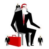 Julaffär Framstickande Santa Claus och hjälpredaälva Affärsman i festlig maskering Man i affärsdräkt med resväskan företags Ne Fotografering för Bildbyråer