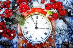Julafton och nya år på midnatt Royaltyfria Bilder