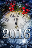 Julafton och nya år på midnatt Fotografering för Bildbyråer