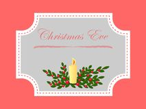 Julaftonstearinljus och mistelfilialer och bär royaltyfri illustrationer
