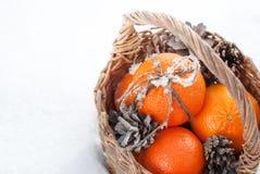 Julapelsiner med klibbig snö på pilbåge från kabel arkivfoto