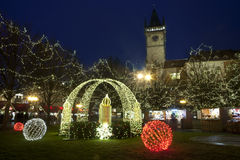 Julatmosfär i Prague, Tjeckien Royaltyfri Foto