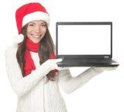 julbärbar datorkvinna Royaltyfri Bild