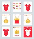 Julbaby showerinbjudningar och meddelandekort i rött och guld- vektor illustrationer