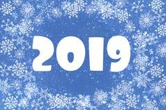 Julbakgrund är blå med vita snöflingor nummer 2019, hälsningkort royaltyfri illustrationer