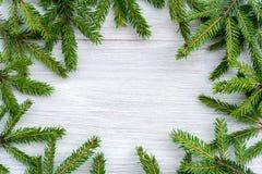 Julbakgrund - cirkelramen som göras av gran, förgrena sig fotografering för bildbyråer
